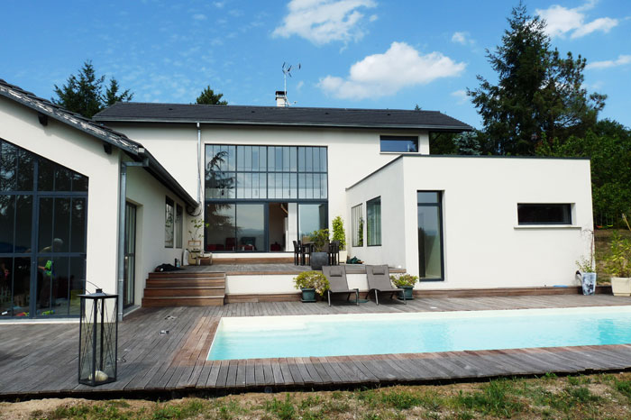 Maison en u james bansac architectes for Plan maison moderne en u